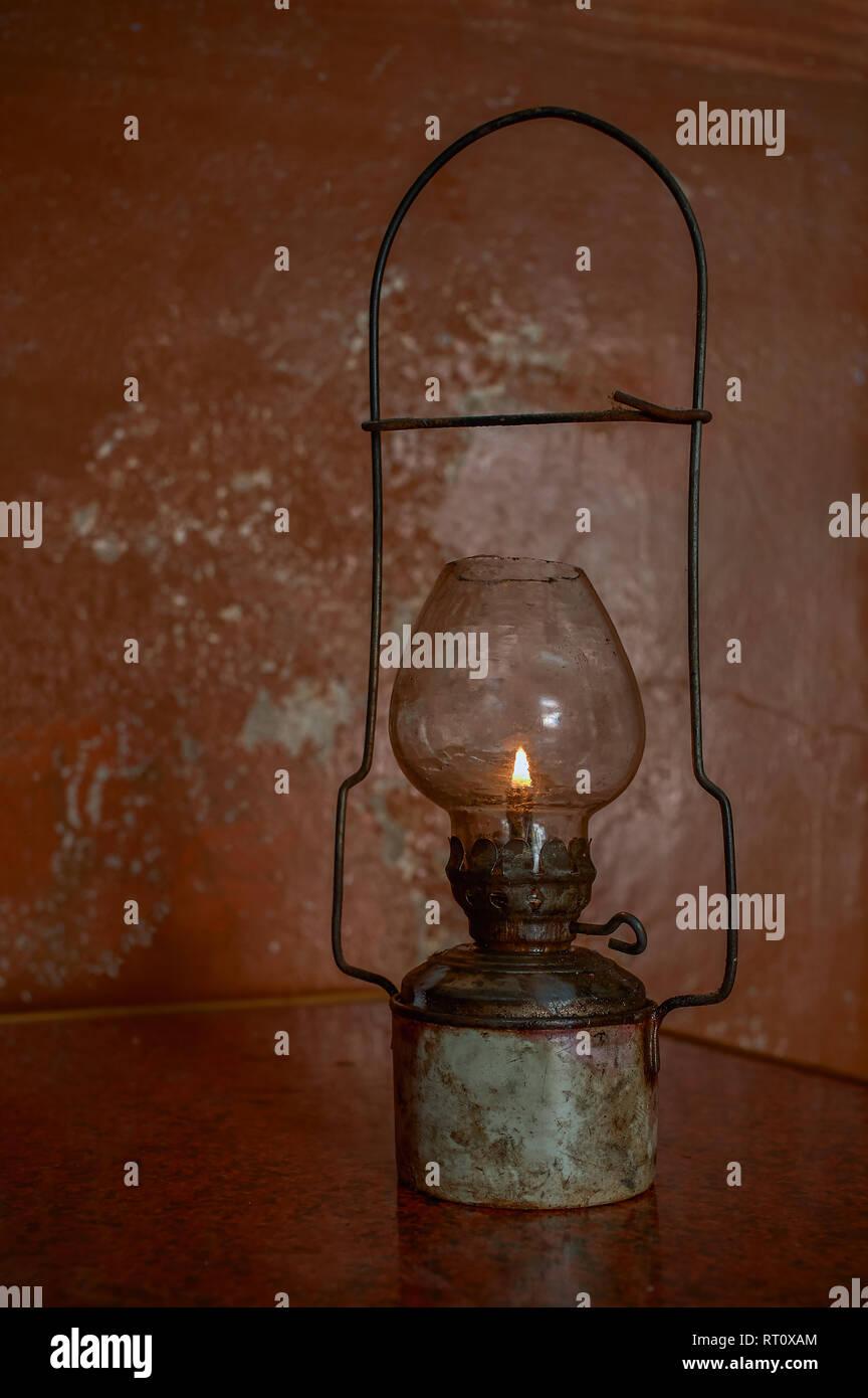 30-Jan02010 Vintage small handmade tin kerosene lamp -IDAR sabarkantha District GUJARAT INDIA - Stock Image