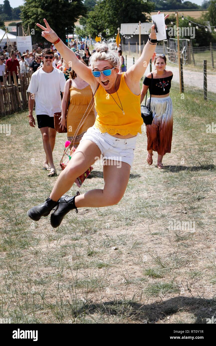 Jumping good times at the Barn On The Farm festival, at Over Farm, near Gloucester, this weekend.  7th July 2018  Picture by Andrew Higgins - Thousand - Stock Image