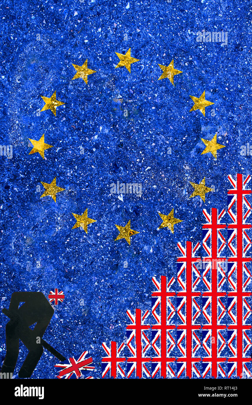 Brexit concept UK and Euro zone Europe breaking decision illustrated with man making a trench of british flags with European Union flag on background Stock Photo