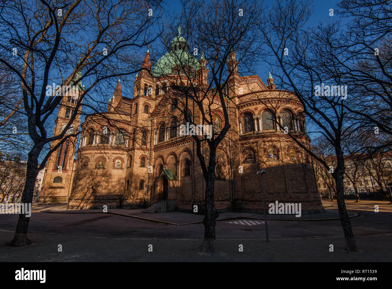 Vienna, Austria - December 25, 2017. St. Anthony of Padua Church built in Byzantine or Romanesque Revival architecture style. Catholic church with bri - Stock Image
