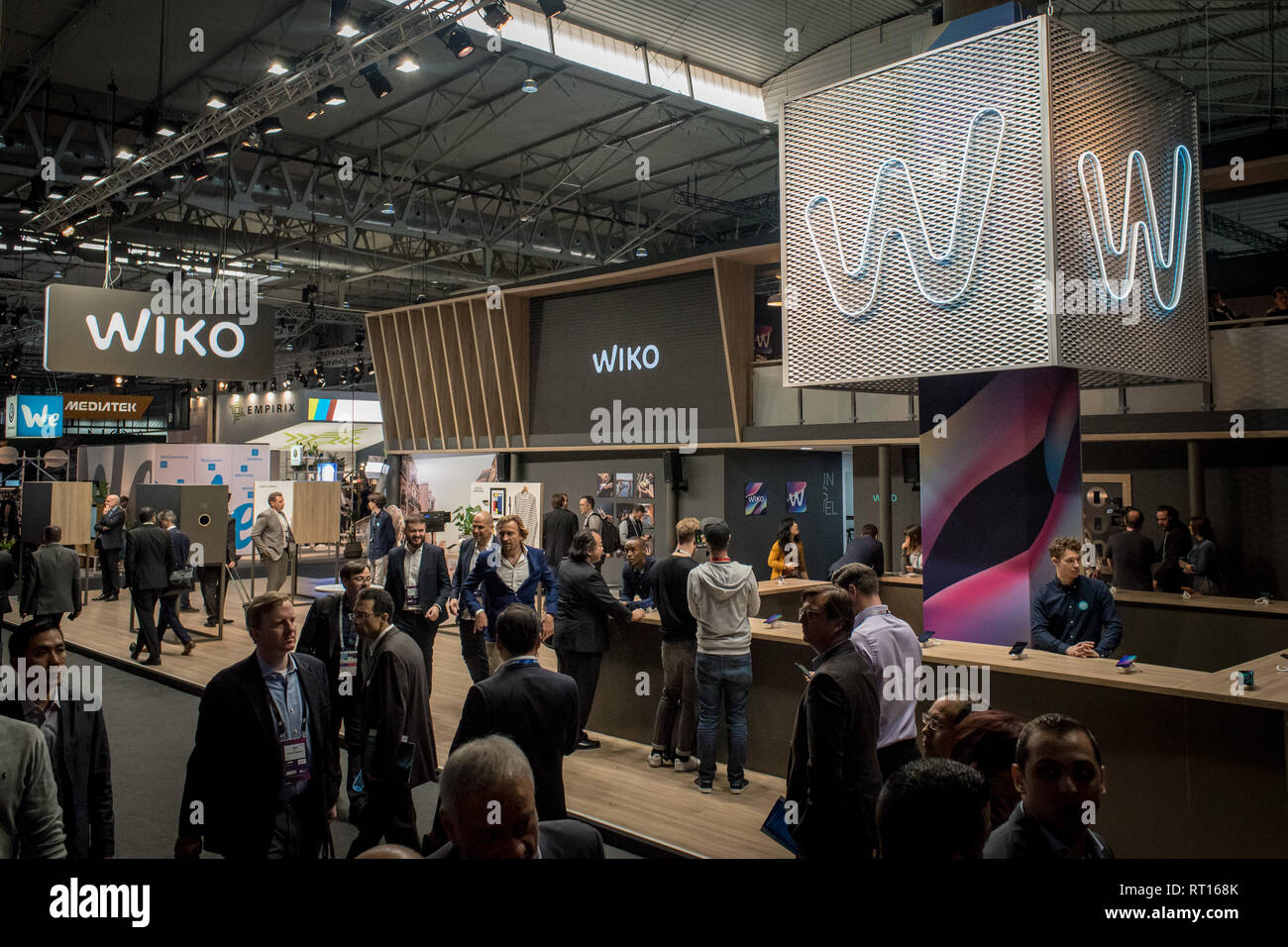 Barcelona, Spain. 26th Feb 2019. February 26, 2019 - Barcelona, Catalonia, Spain -  WIKO  pavilion during the  GSMA Mobile World Congress 2019 in Barcelona, the world's most important event on mobile devices communications bringing together the leading companies and the latest developments in the sector. Credit:  Jordi Boixareu/Alamy Live News Stock Photo