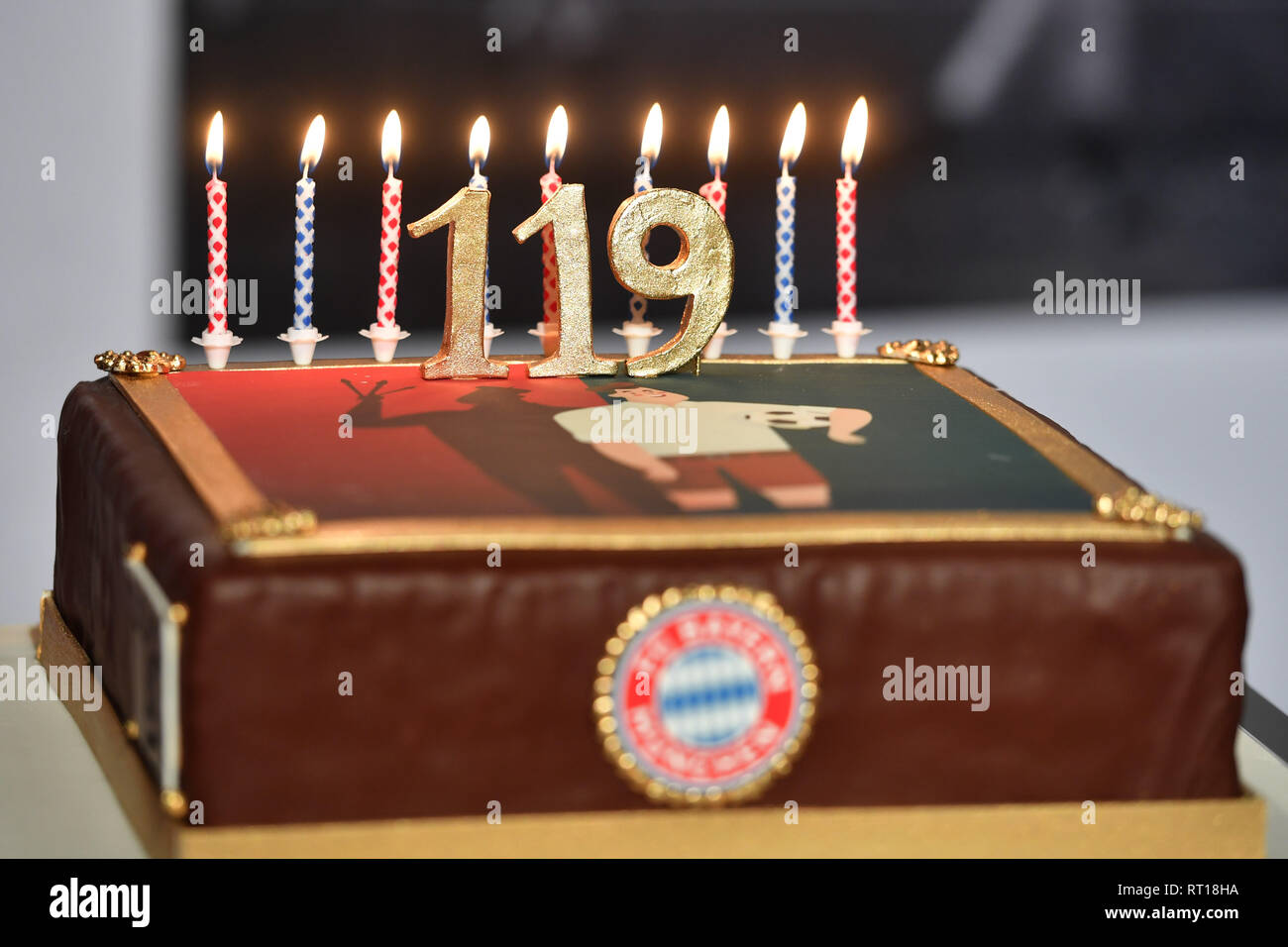 Candles Burn On A Birthday Cake Happy FC Bayern The 27th Of February 119 Years Ago German Record Champion Was Founded