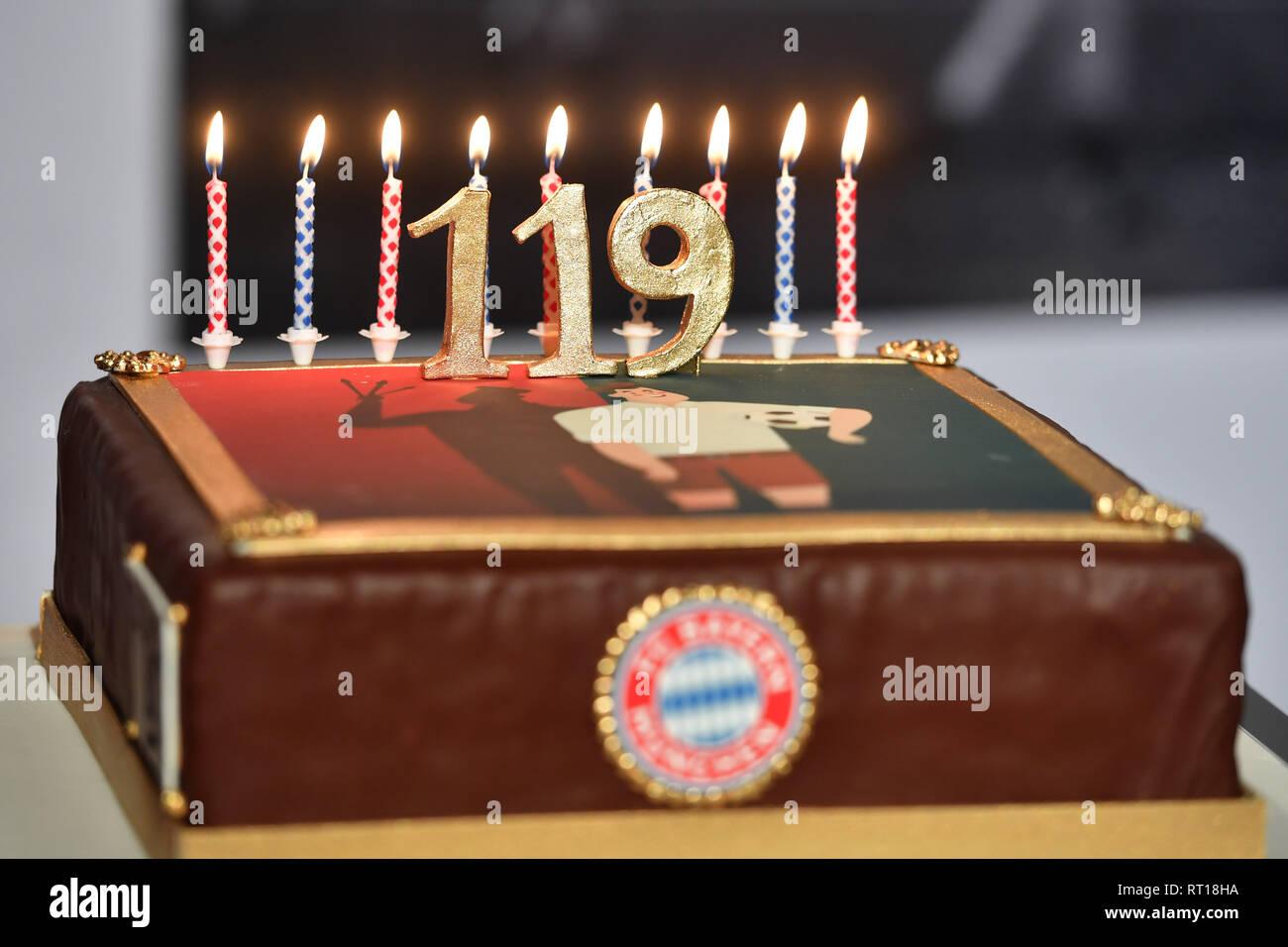 Candles Burn On A Birthday Cake Happy Birthday Fc Bayern On The