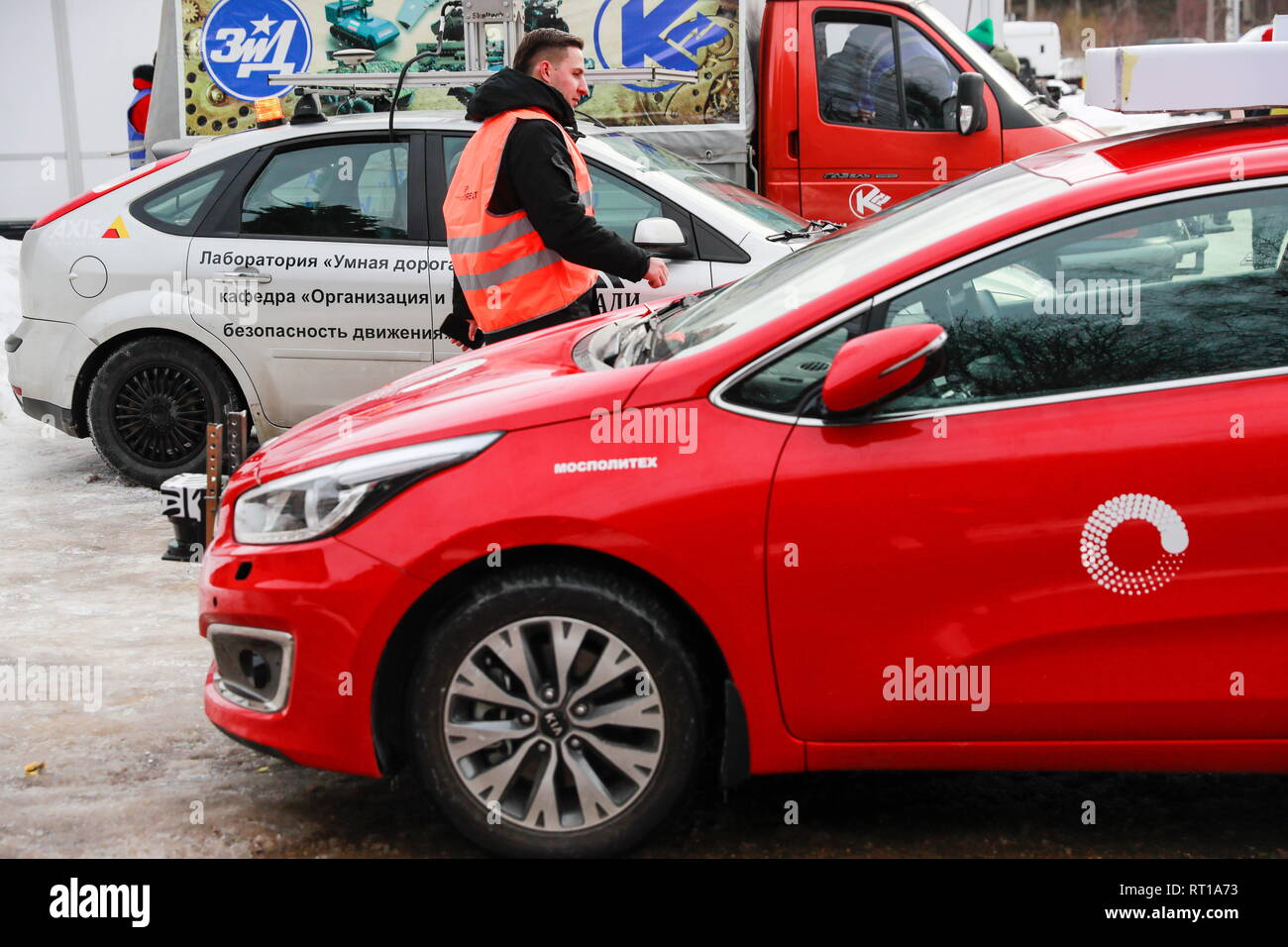 Russia. 27th Feb, 2019. MOSCOW REGION, RUSSIA - FEBRUARY 27, 2019: A self-driving car of the Laboratory of Driverless Transport being tested in extreme climate conditions as part of the Winter City Up Great International Technology Contest at a facility of the Central Scientific Research Automobile and Automotive Engines Institute (NAMI) in the village of Avtopoligon. Sergei Fadeichev/TASS Credit: ITAR-TASS News Agency/Alamy Live News Stock Photo