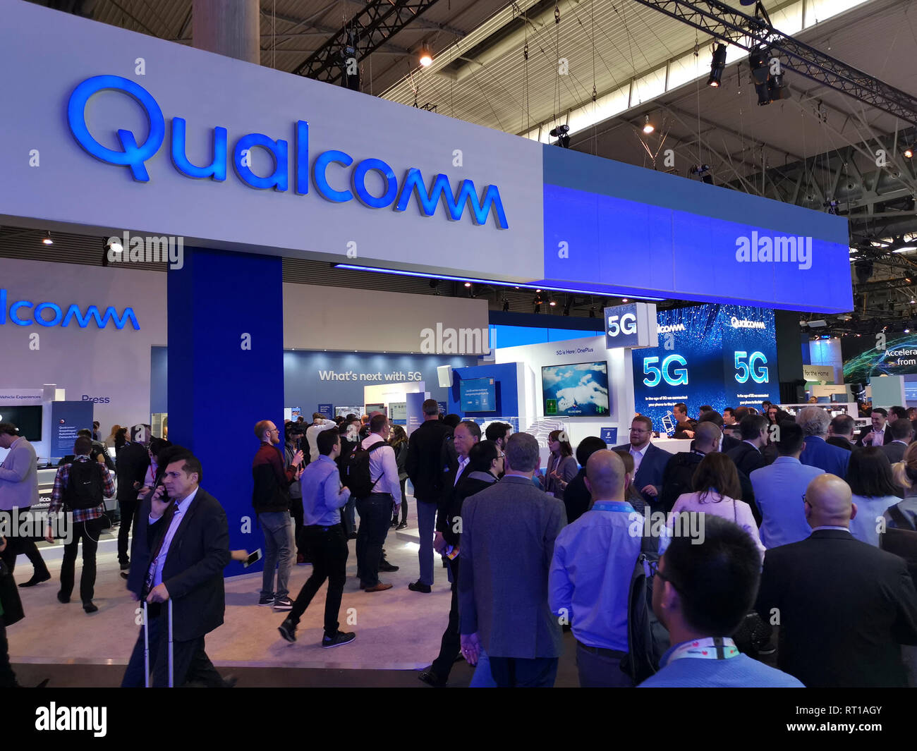 Barcelona, Spain  26th February, 2019  Qualcomm stand and a