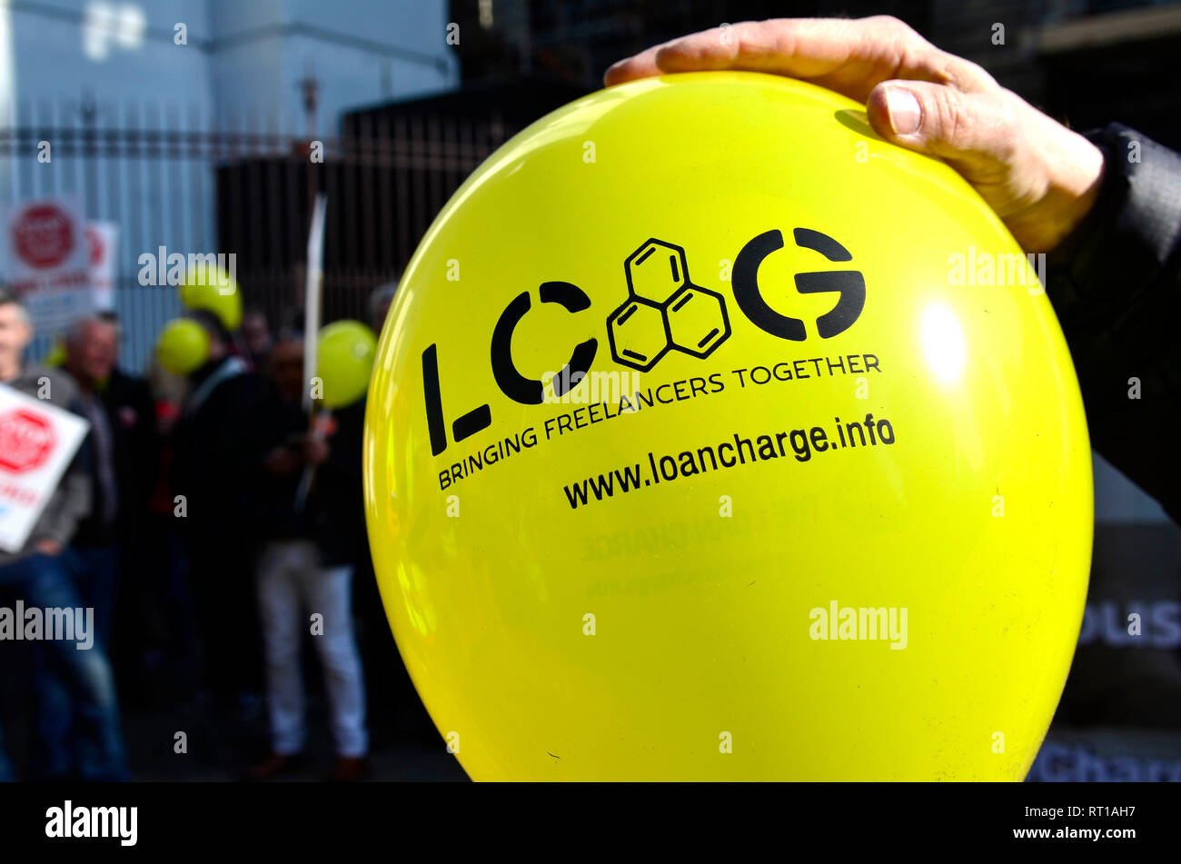 London, 27th Feb. The Loan Charge Action Group - formed to raise awareness of the retrospective tax charge introduced by HM Government in the 2017 Budget demonstrates outside Parliament Credit: PjrNews - Stock Image