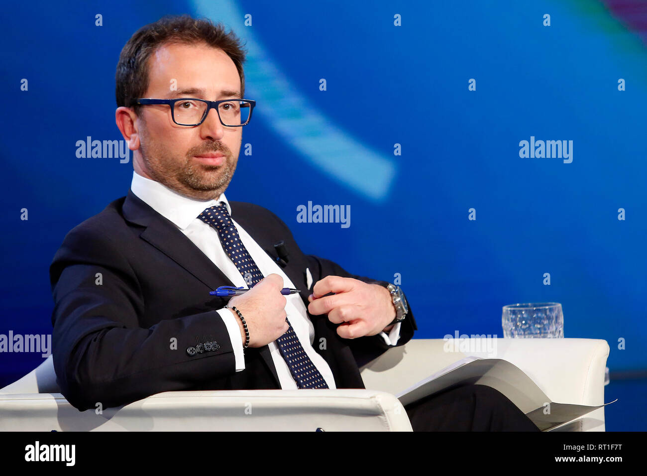 Alfonso Bonafede Rome February 27th 2019. The Italian Minister of Justice appears as a guest on the tv show Porta a Porta Foto Samantha Zucchi Insidefoto - Stock Image