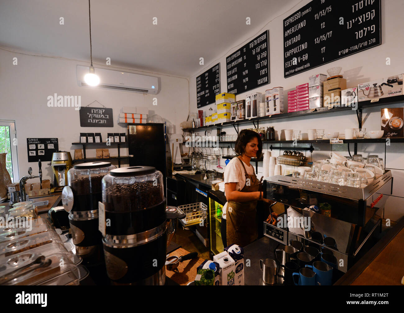 Cafelix Artisan coffee shop in Tel-Aviv. - Stock Image