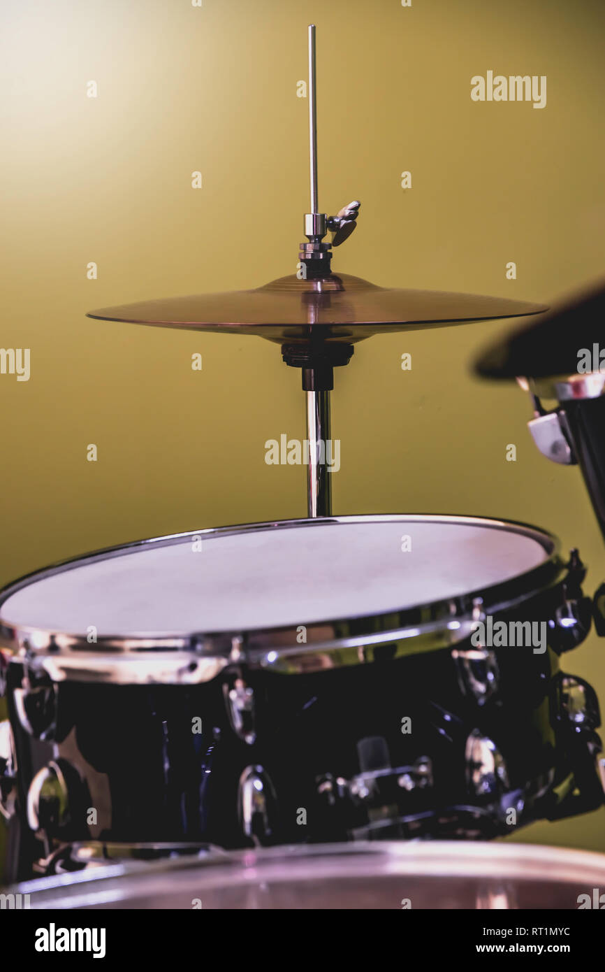 Close up view on drum set in the jam studio or music school