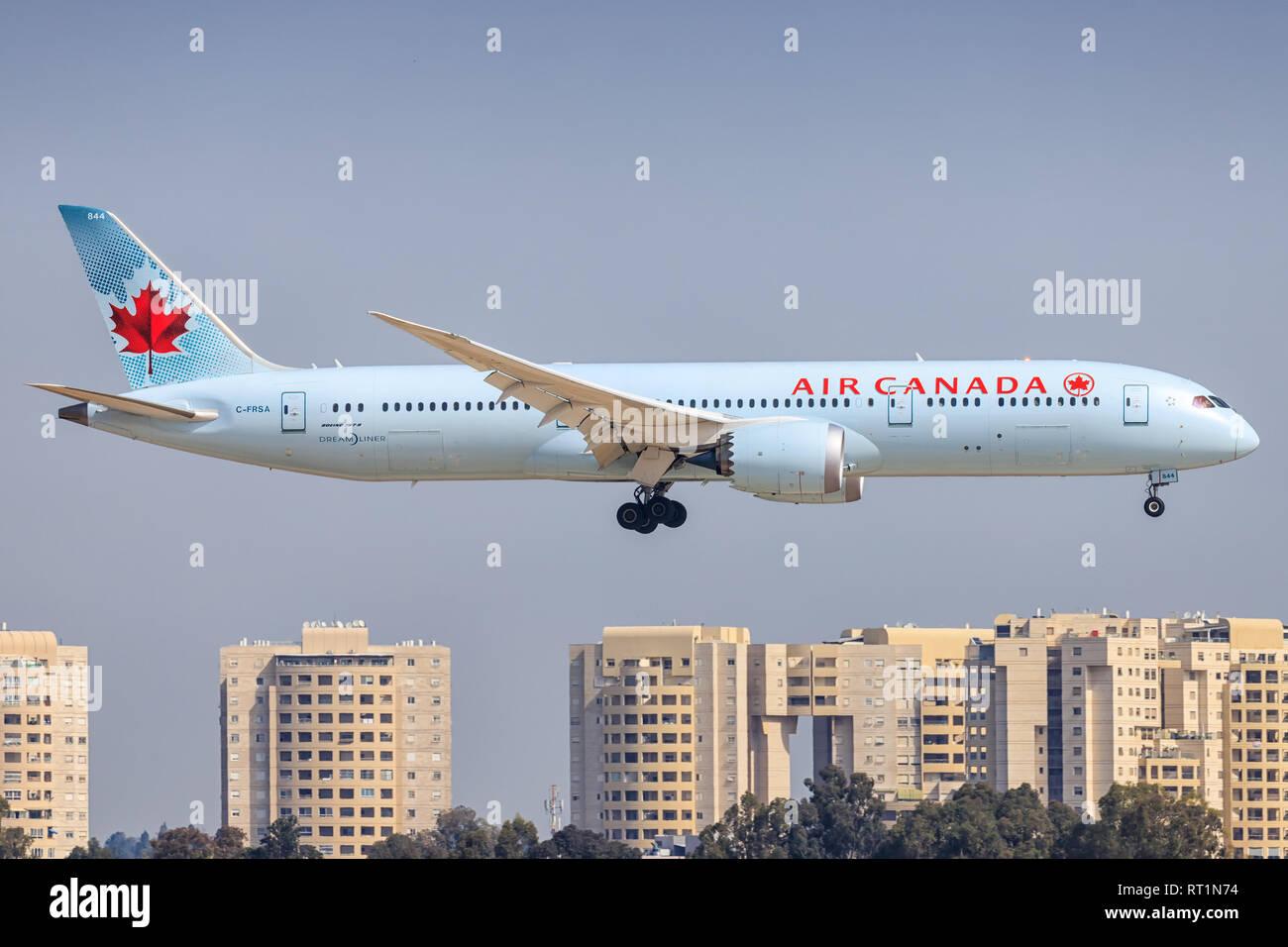 TEL AVIV, ISRAEL-February 24, 2019: Boeing 787 of Air Canada At Ben-Gurion international Airport. - Stock Image