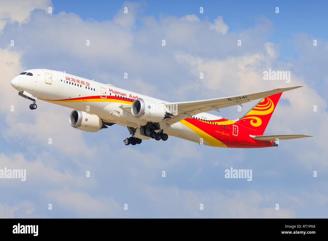 TEL AVIV, ISRAEL-February 24, 2019: Boeing 787 of Hainan At Ben-Gurion international Airport. - Stock Image