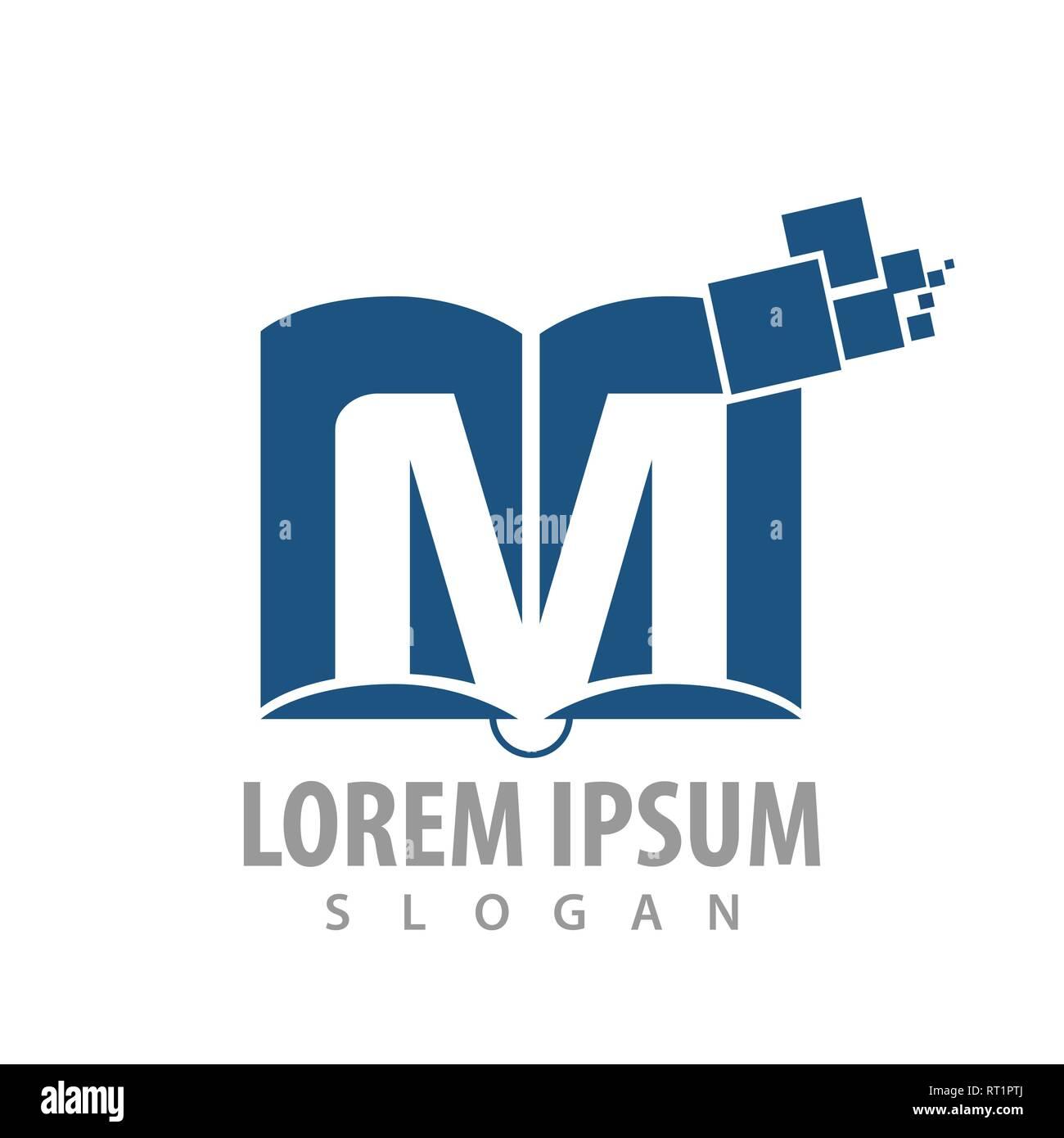 Logo Concept Design Digital Book Initial Letter M Symbol