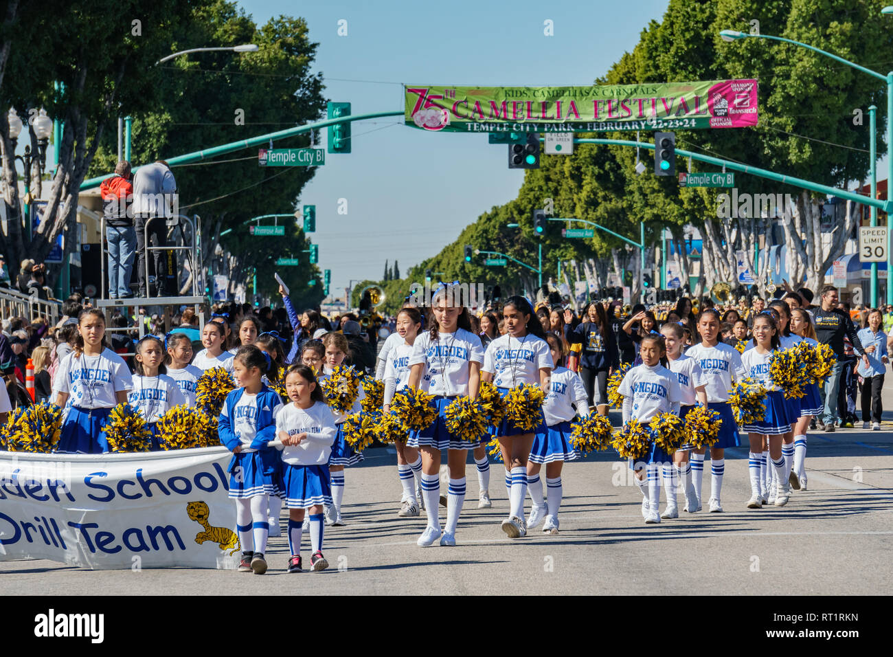 Los Angeles, FEB 23: Londen School Marching band parade in the Camellia Festival on FEB 23, 2019 at Los Angeles, California - Stock Image