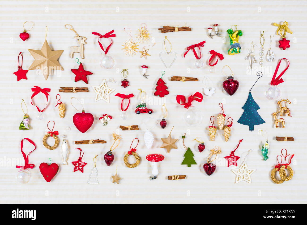 Christmas decoration, flat lay - Stock Image