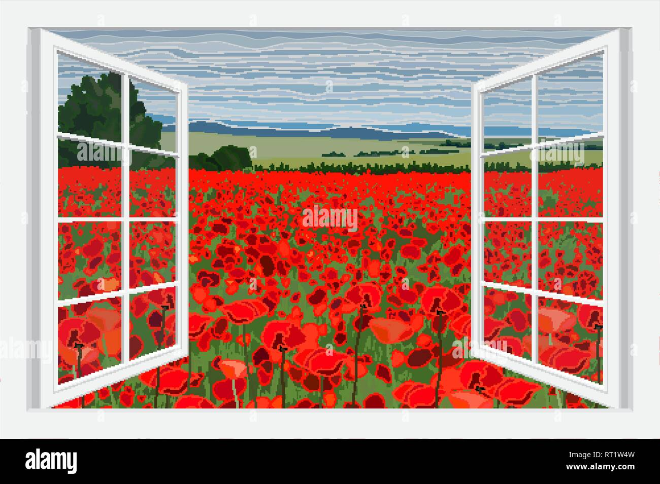 Bright poppy field with bushes vector illustration - Stock Vector