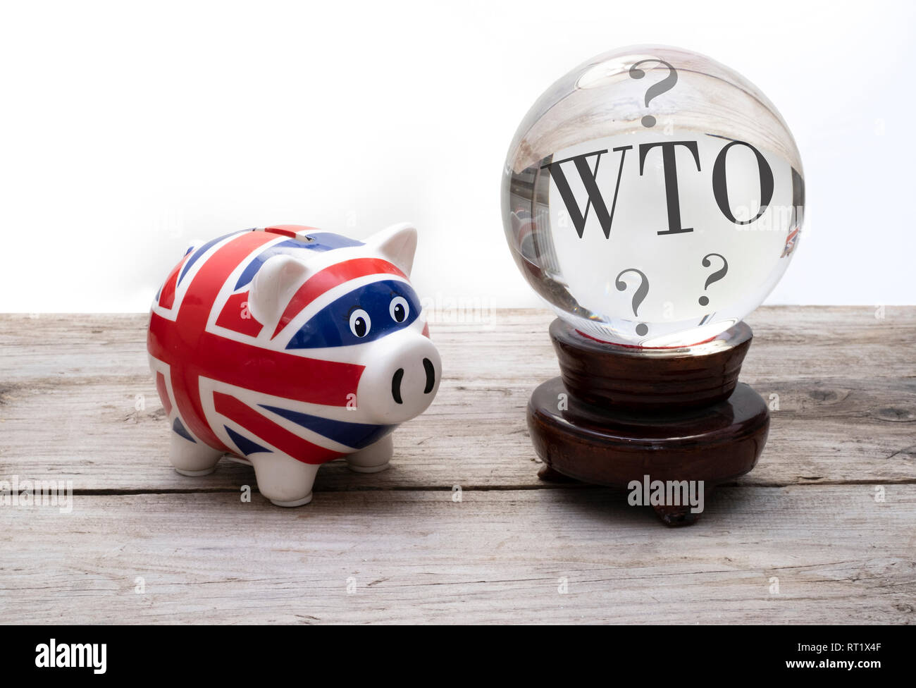 UK brexit WTO concept, union jack piggy bank with a crystal ball Stock Photo