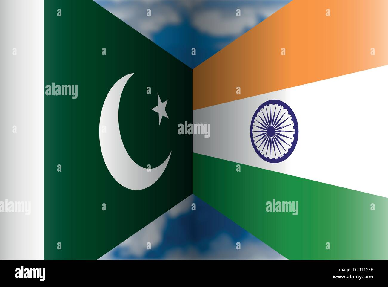 Pakistan VS India flags, vector illustration - Stock Vector