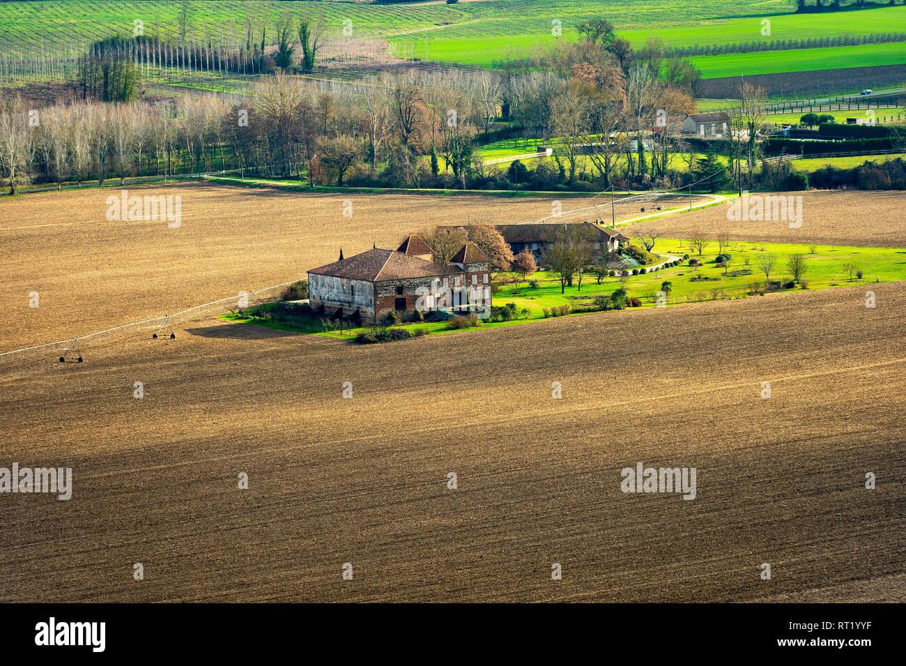 Tarn et Garonne, paysage vu du village de Boudou 82 France Stock Photo