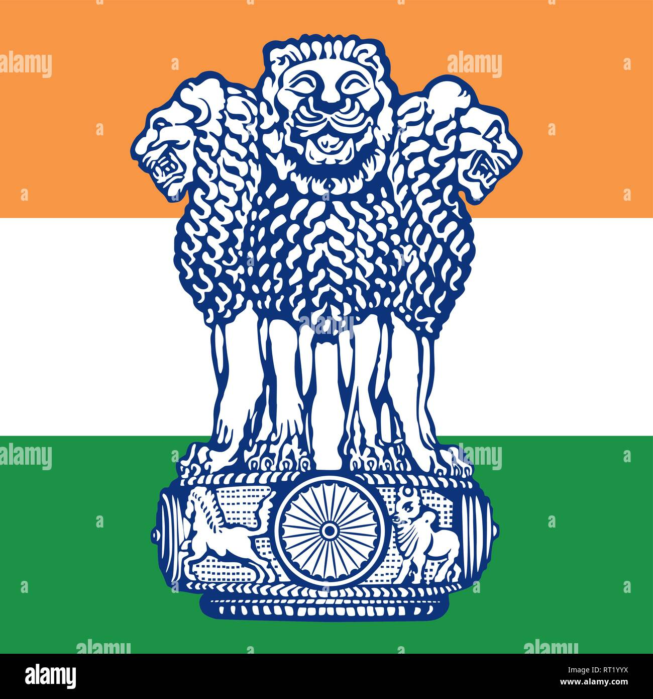 India official coat of arms on the national flag - Stock Vector