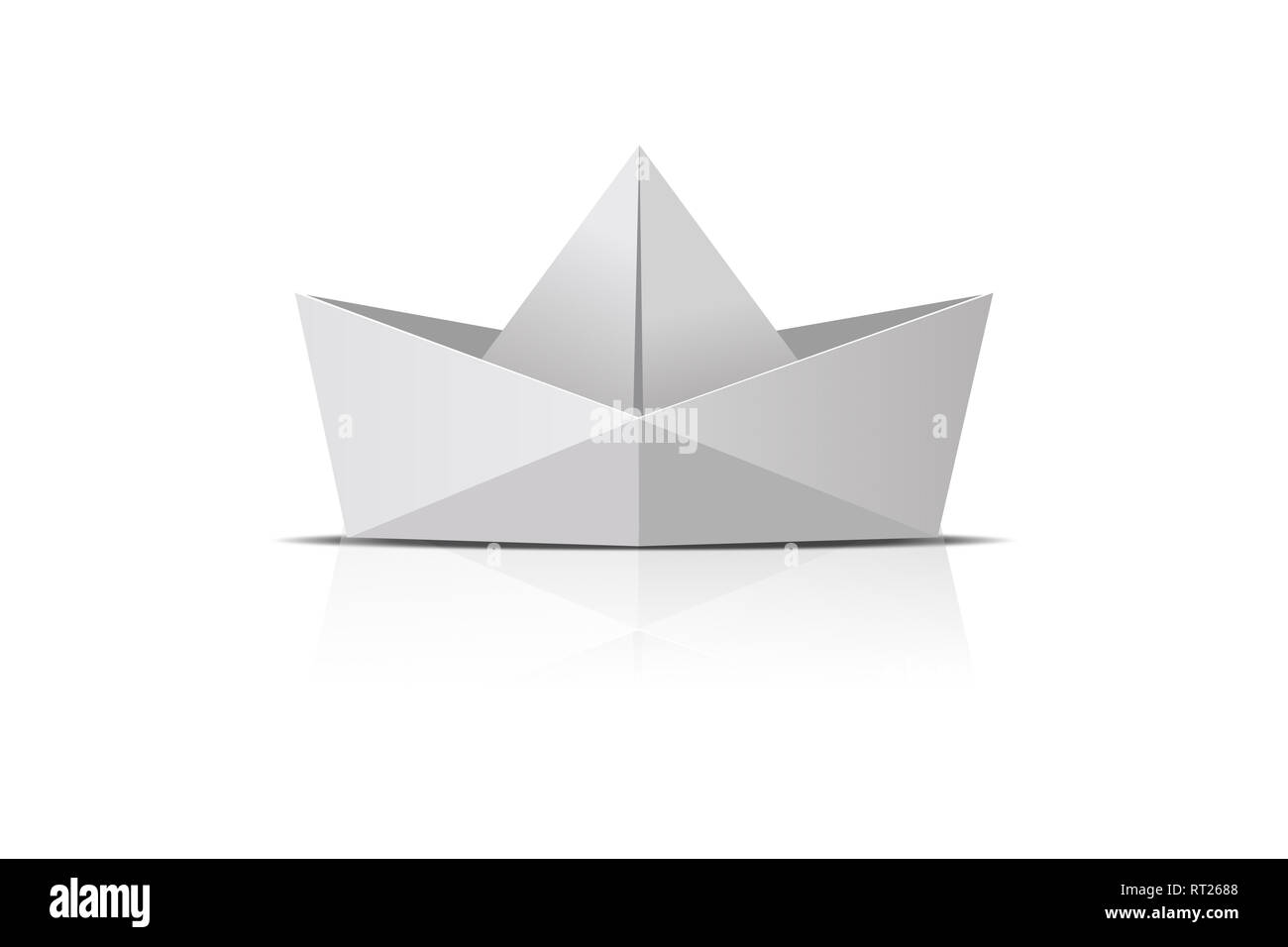 Folder paper ship boat origami, isolated on white background. - Stock Image