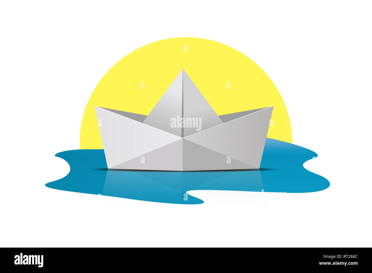 Folder paper ship boat origami on sea water and sun, isolated on white background. - Stock Image