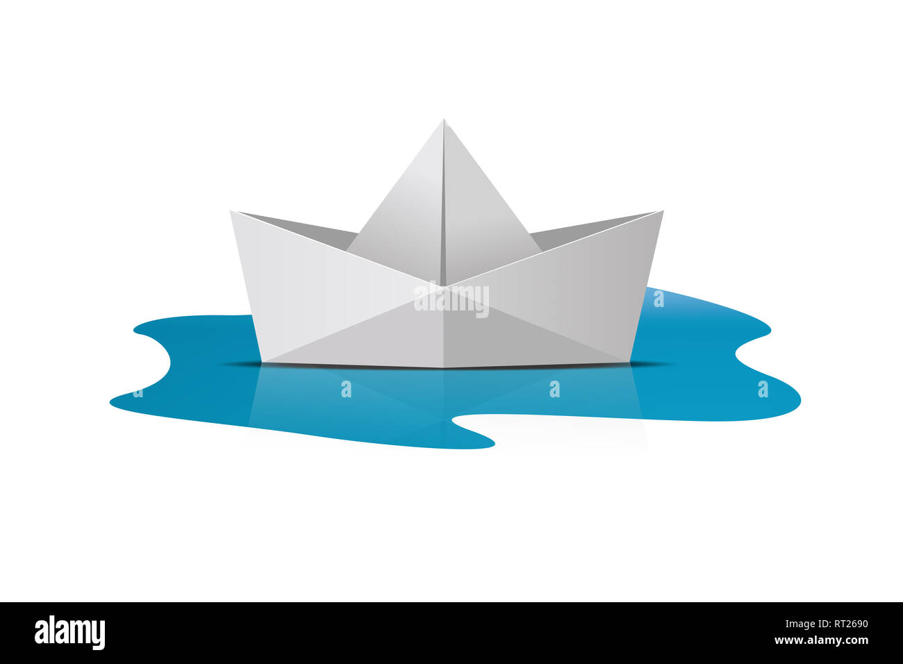 Folder paper ship boat origami on sea water, isolated on white background. - Stock Image