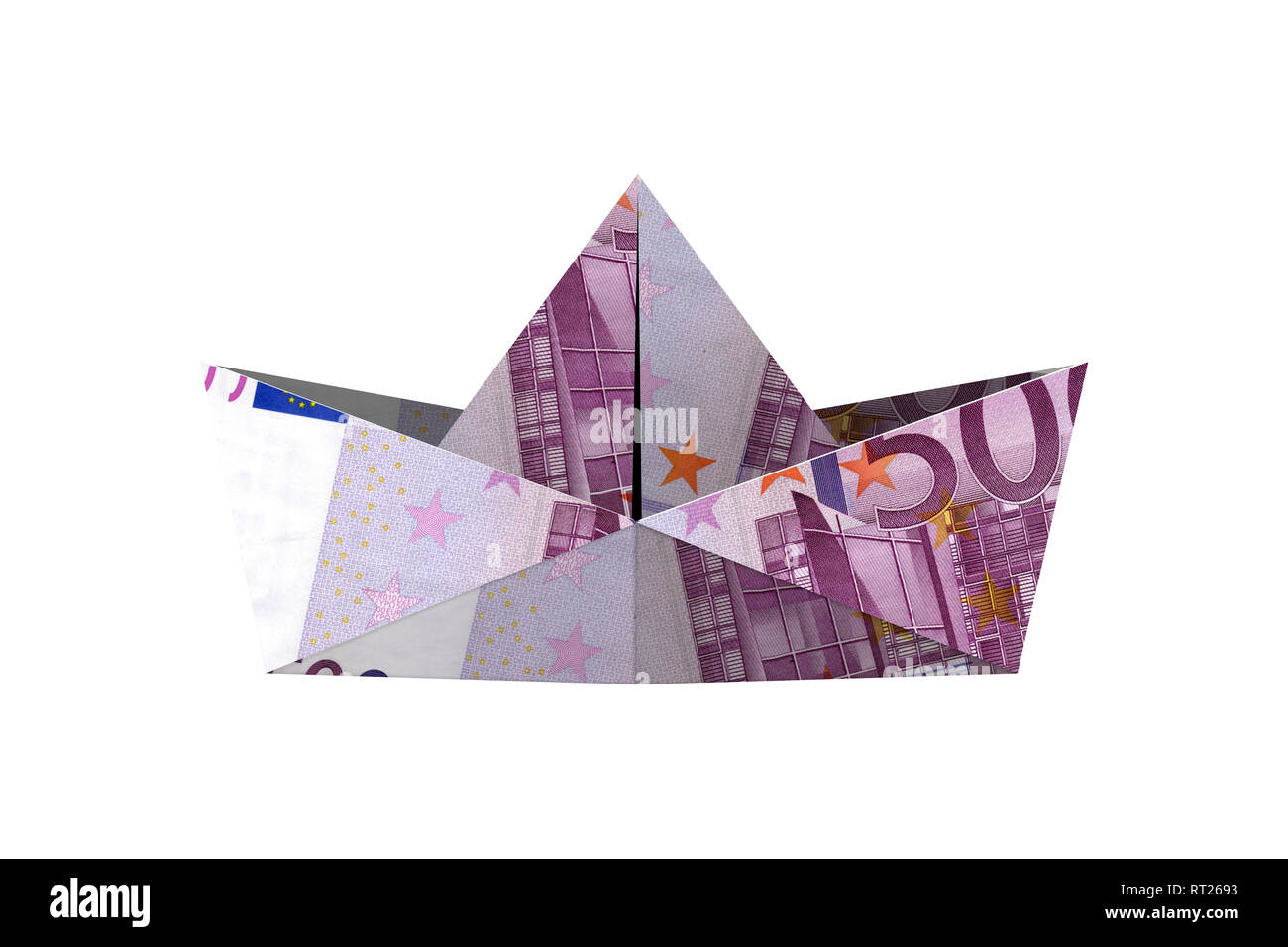 Folder paper ship boat origami with currency euro banknote, isolated on white background. - Stock Image