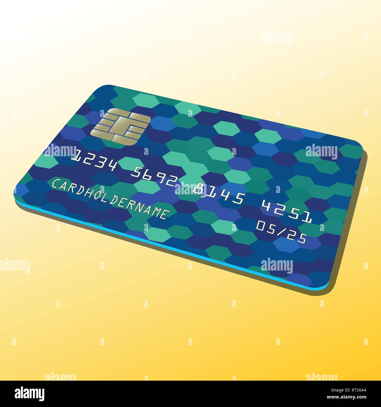 Vector illustration of a Bank card. Pyramid of money. Colorful abstract design. - Stock Vector