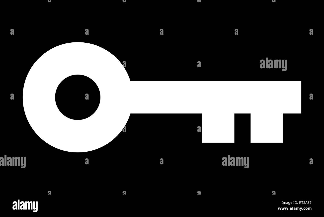 Key symbol icon - white simple, isolated - vector illustration - Stock Image