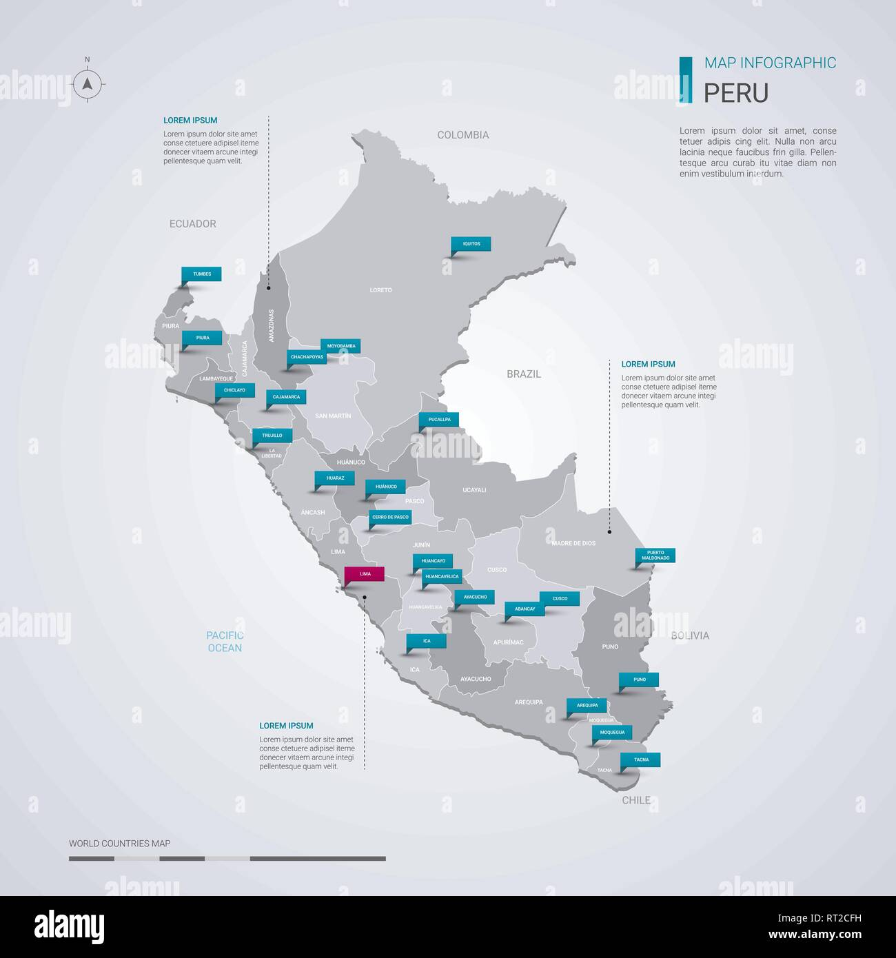 Peru vector map with infographic elements, pointer marks. Editable on