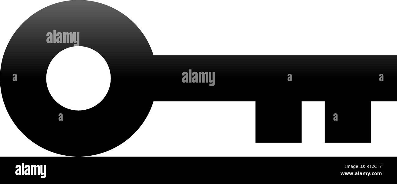 Key symbol icon - black gradient, isolated - vector illustration - Stock Image