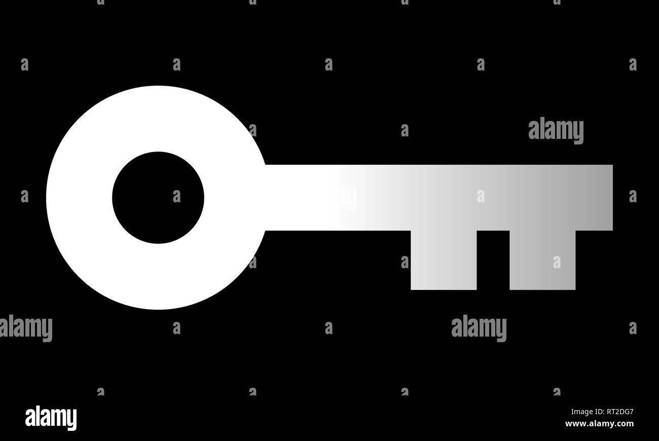 Key symbol icon - white gradient, isolated - vector illustration - Stock Image