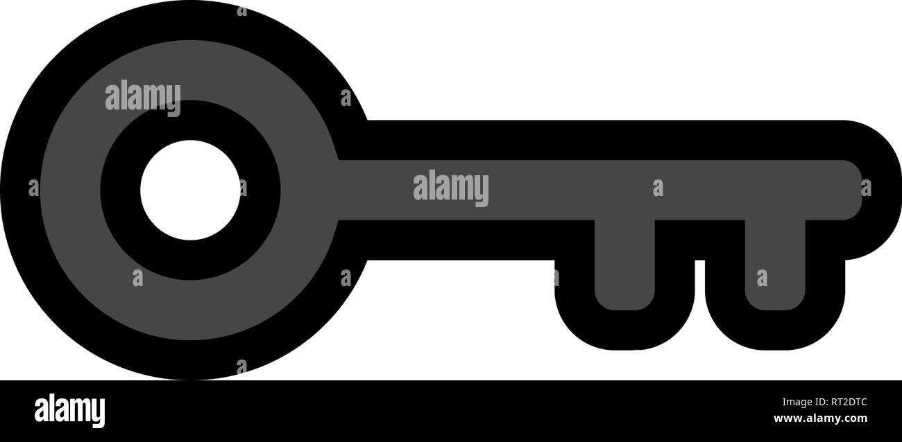 Key symbol icon - black with outline, isolated - vector illustration - Stock Image