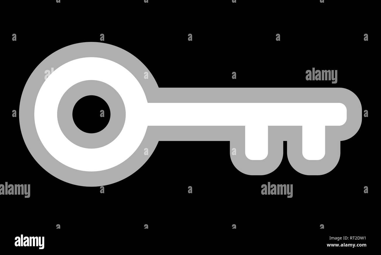 Key symbol icon - white with outline, isolated - vector illustration - Stock Image