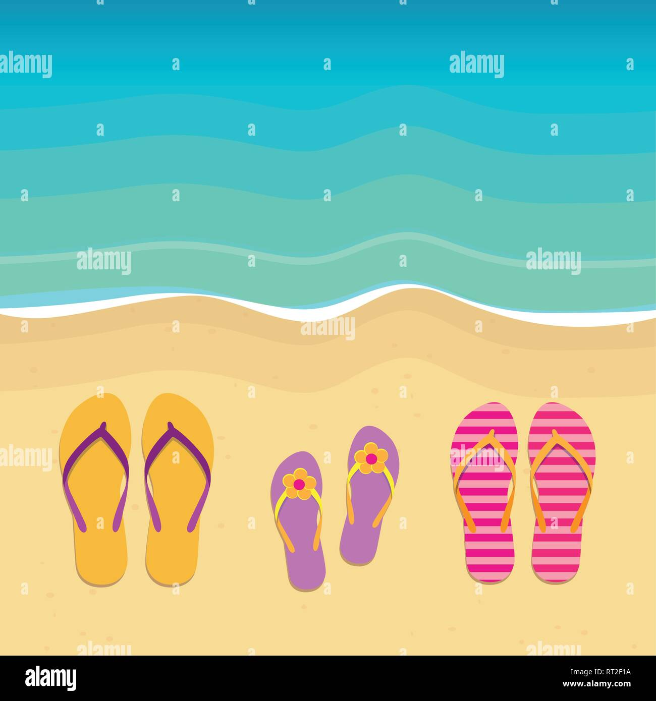 three pairs of flip flops on the beach family summer holiday vector illustration EPS10 - Stock Vector