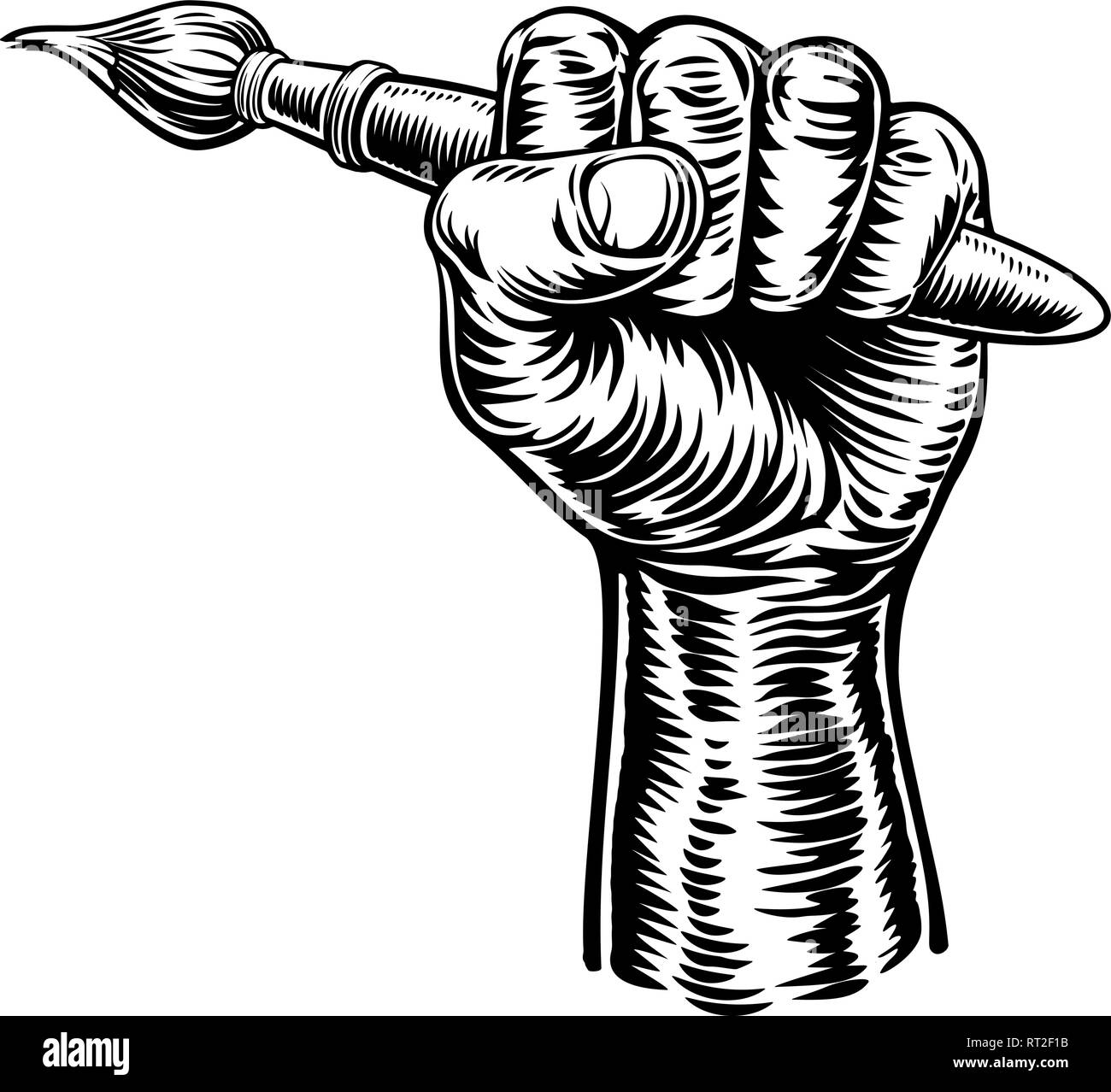 Hand Holding Artists Paintbrush - Stock Vector