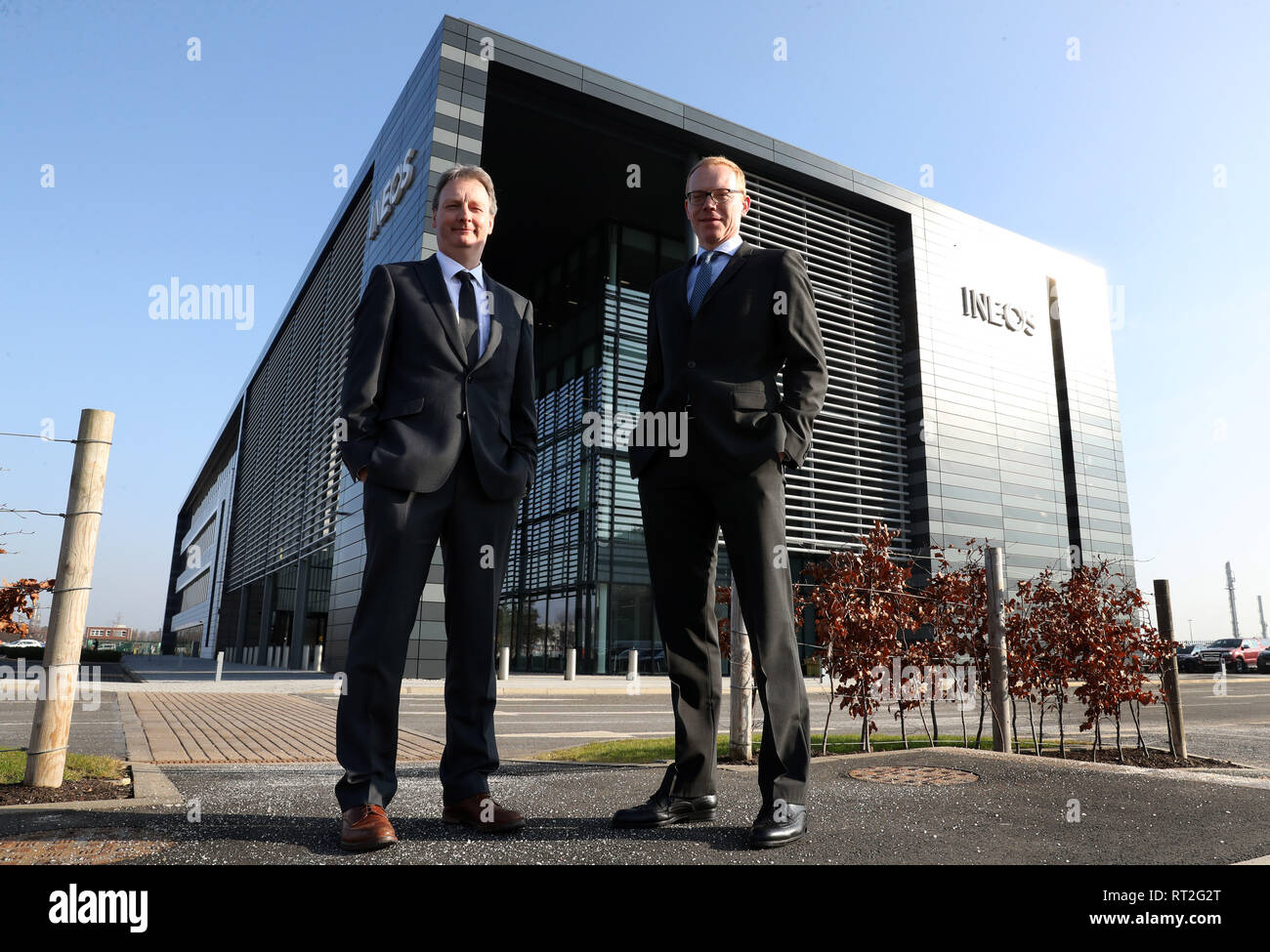 Andrew Gardner, chief executive of Ineos Forties Pipeline System (FPS) and Tobias Hannemann (right), chief executive of Ineos O&P UK at INEOS Grangemouth headquarters after the company made an investment announcement. - Stock Image