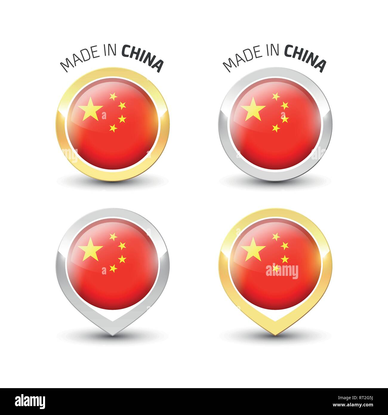 Made In China Guarantee Label With The Chinese Flag Inside Round Gold And Silver Icons Stock Vector Image Art Alamy
