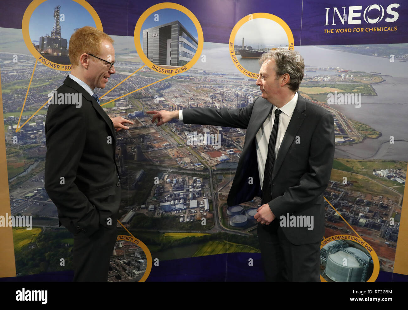 Andrew Gardner, chief executive of Ineos Forties Pipeline System (FPS) and Tobias Hannemann (left), chief executive of Ineos O&P UK at INEOS Grangemouth headquarters after the company made an investment announcement. - Stock Image