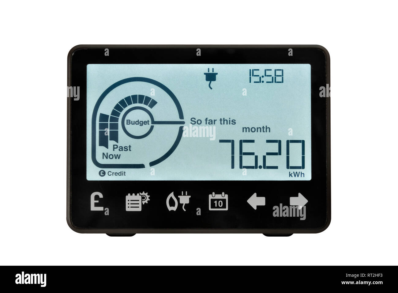 Smart Meter, United Kingdom. An electronic device for recording and monitoring the consumption of electricity in the home. Stock Photo