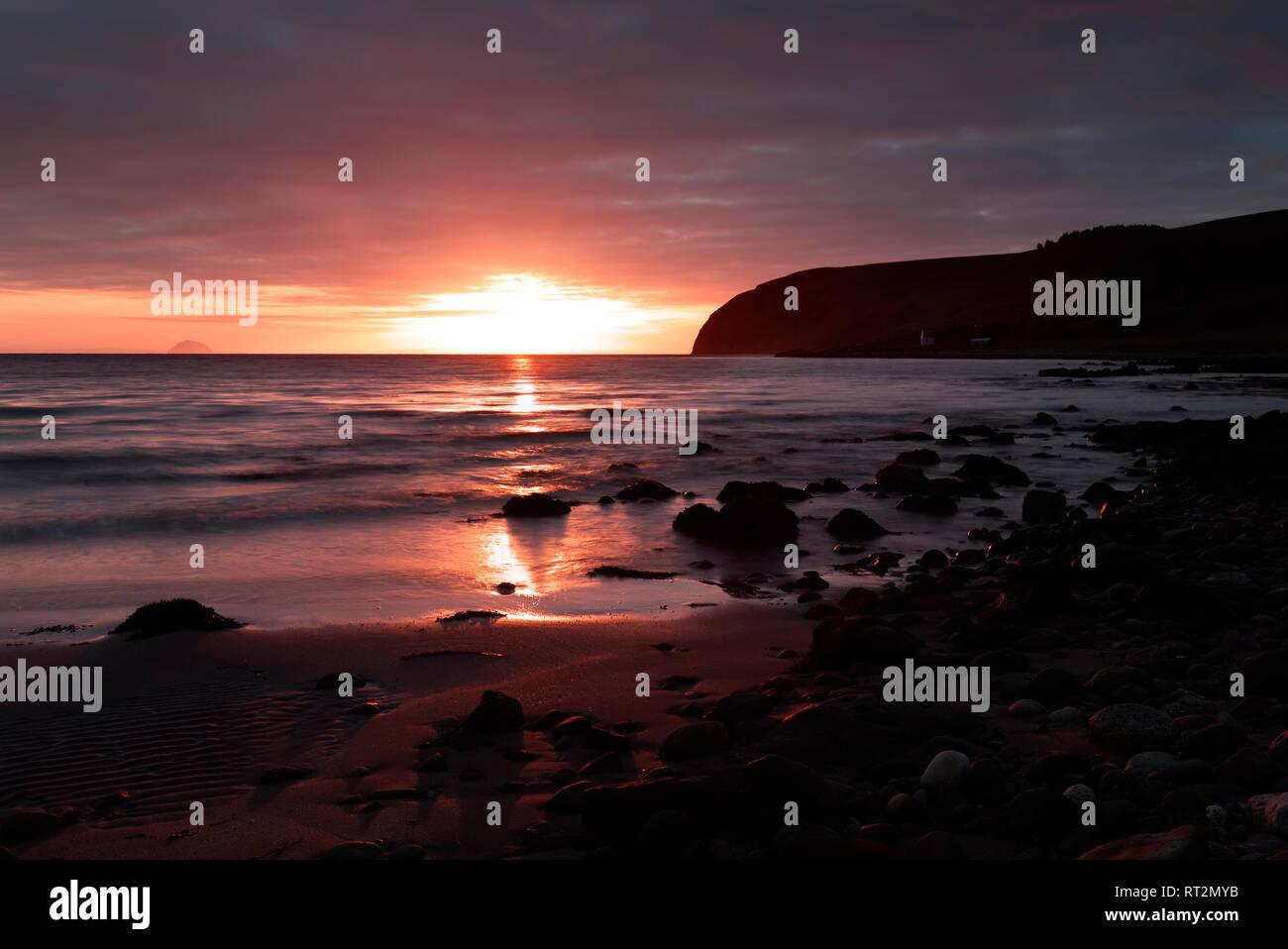 Winter sunrise at Kildalloig, Mull of Kintyre Stock Photo