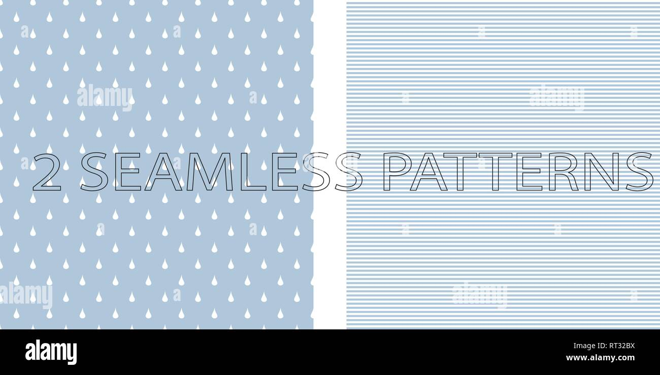Set of two seamless patterns in blue color Stock Vector