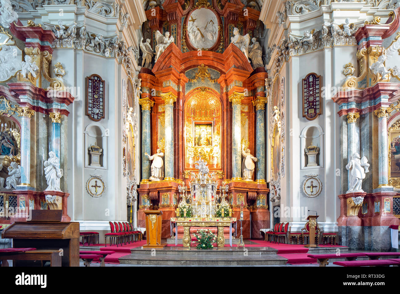 Basilica on the Holy Mountain in the village Glogowko / Gostyn, Poland. Historic renaissance architecture. Interior. - Stock Image