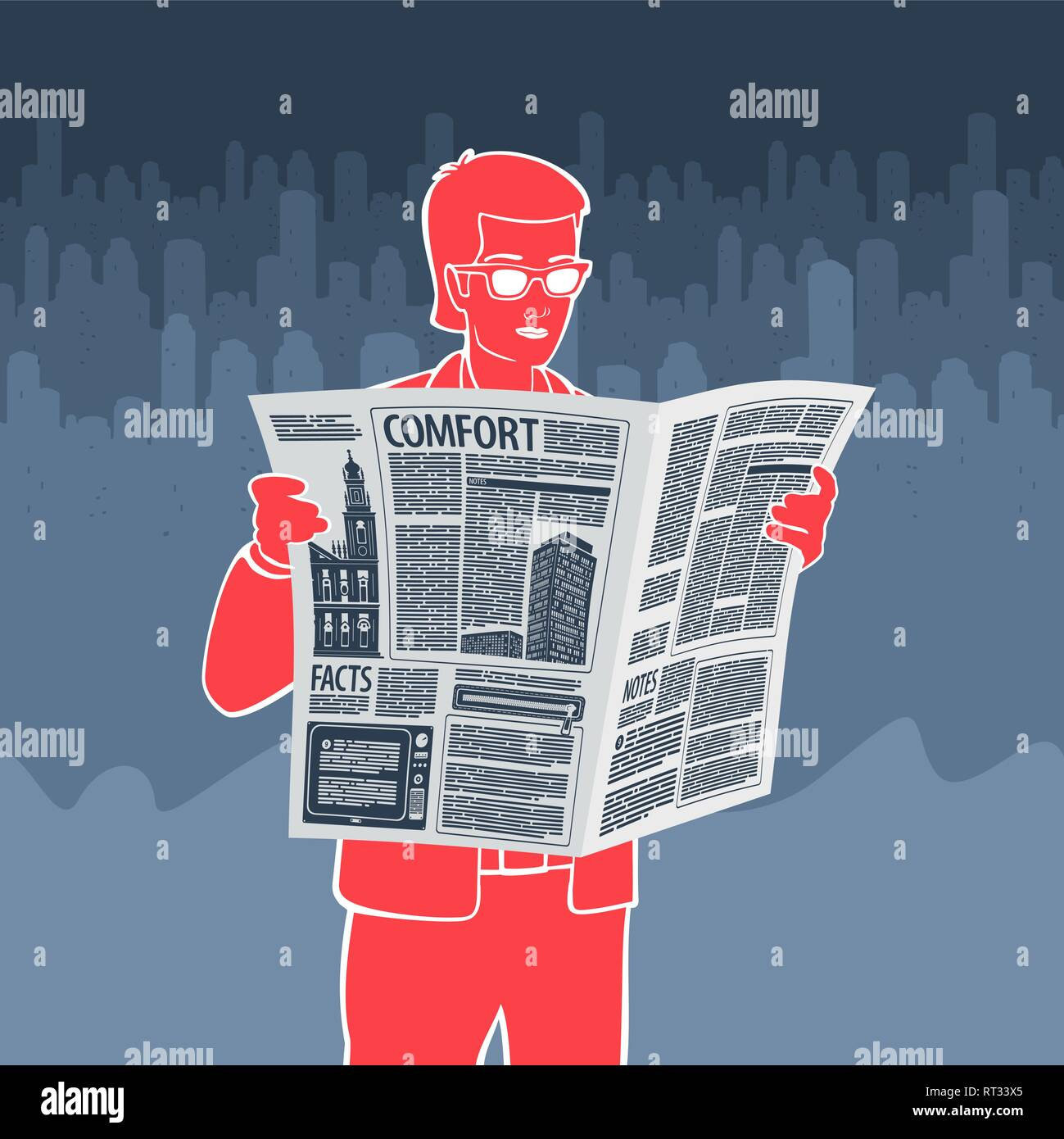 Vector Illustration Man Reading Newspaper - Stock Image