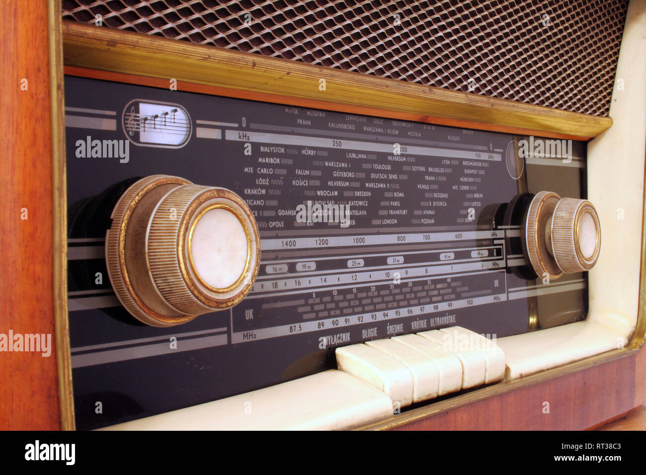 old antique wooden radio of my grandparents - Stock Image