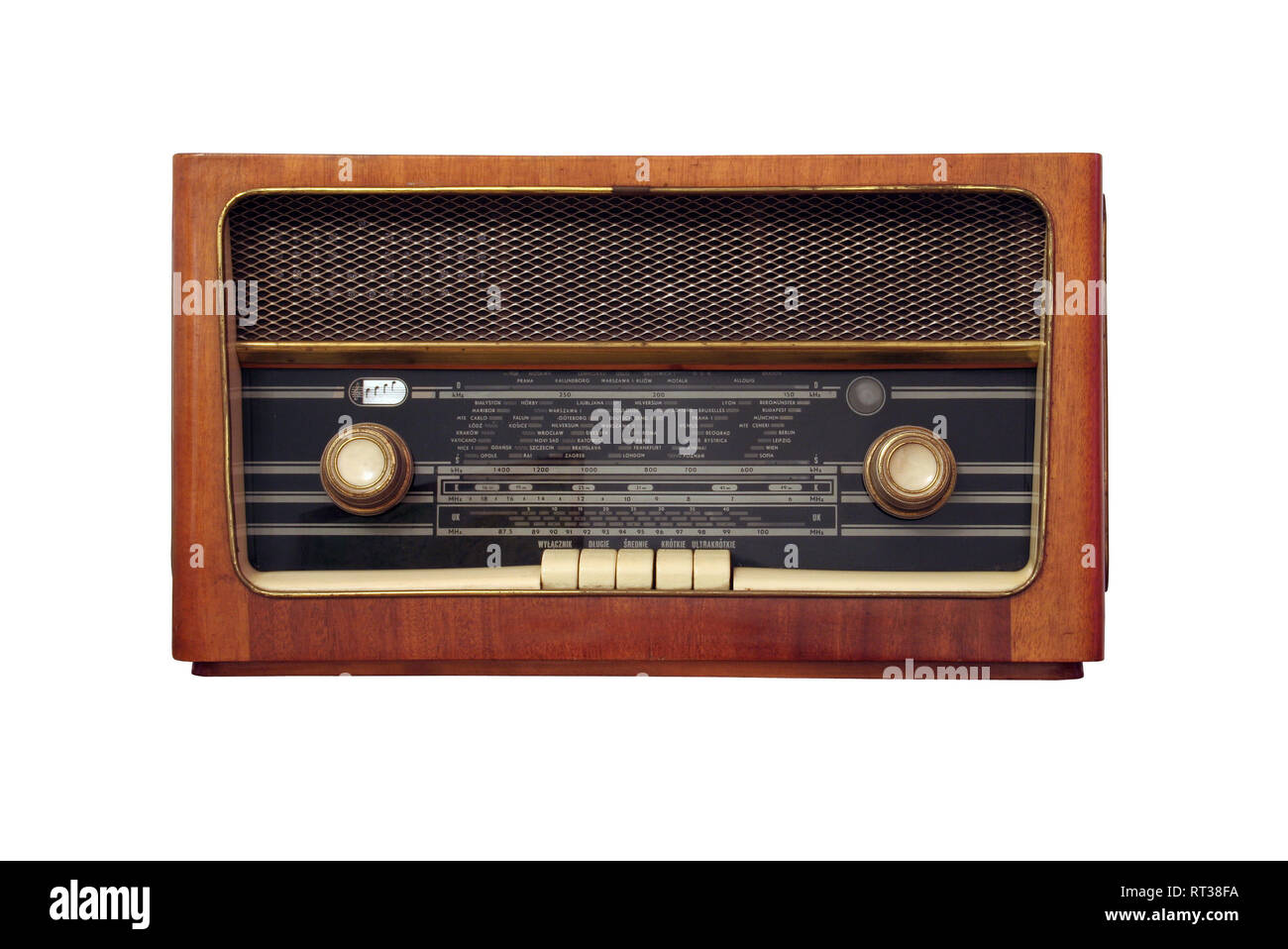 old antique wooden radio of my grandparents - isolated on white background - Stock Image
