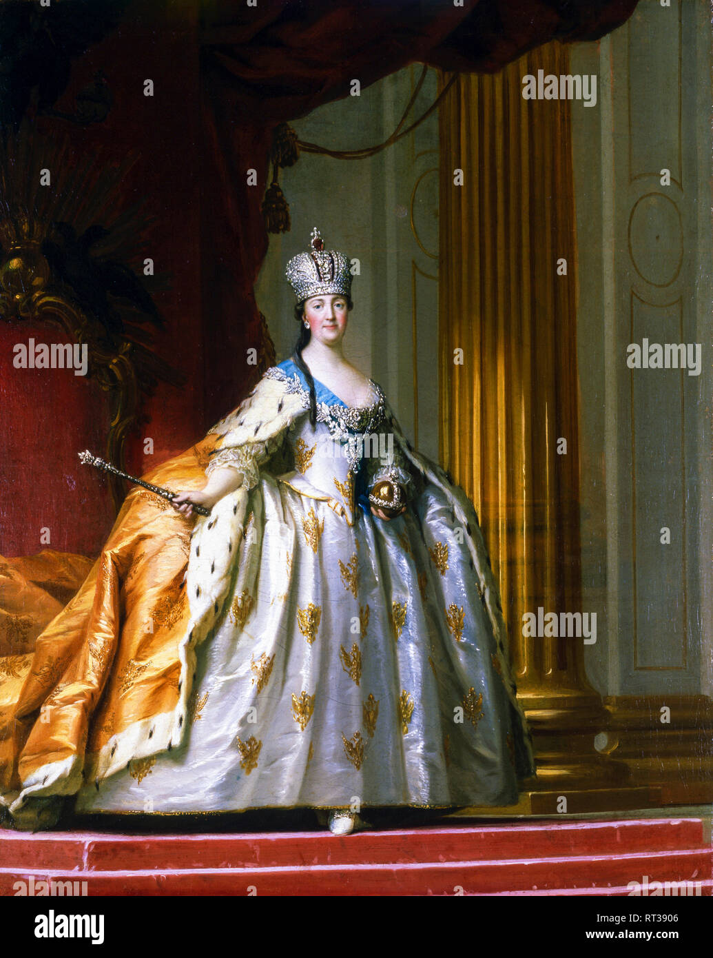 Catherine the Great in her Coronation Robes, Catherine II portrait painting, c. 1778 - Stock Image