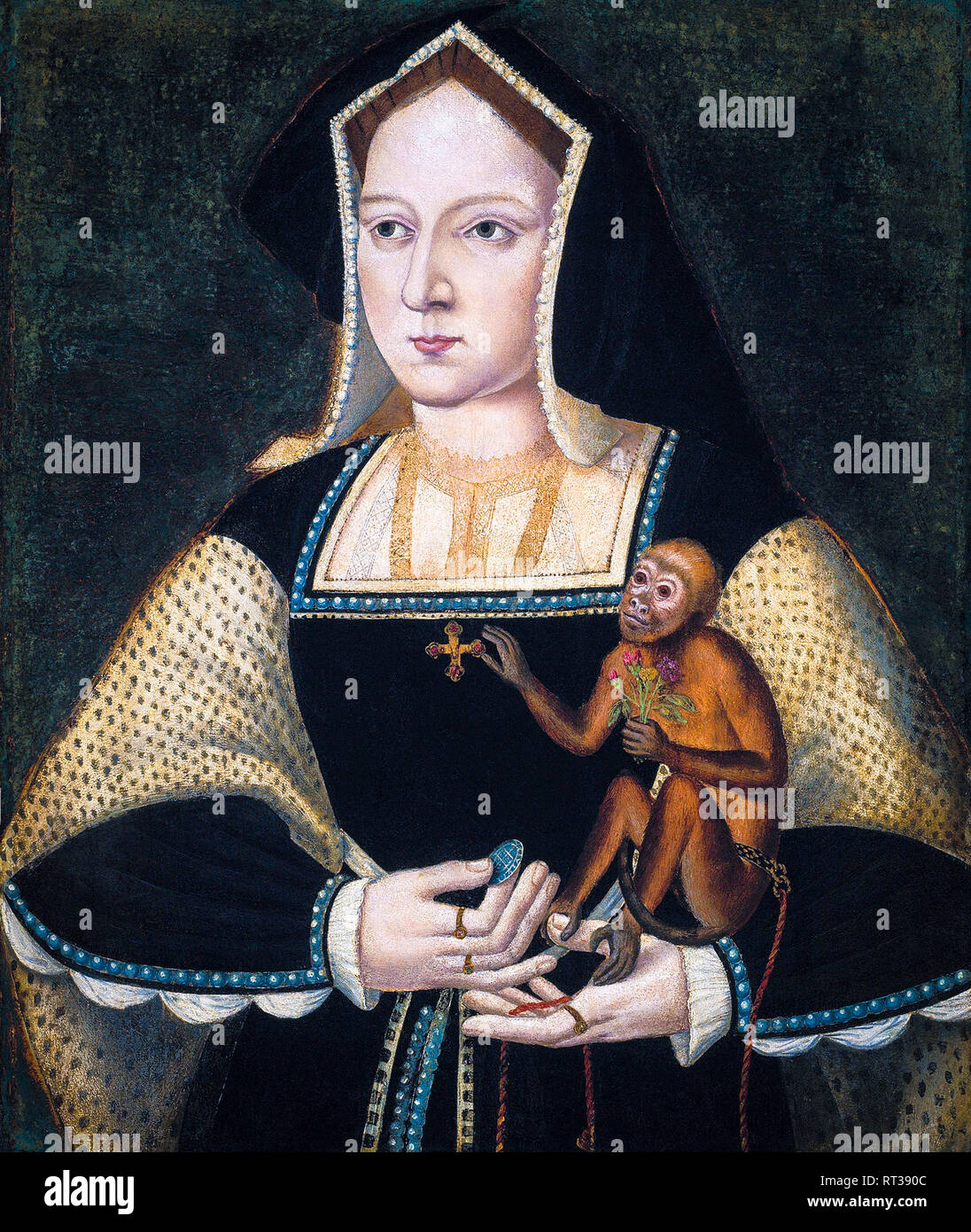 Catherine of Aragon (1485-1536), portrait painting, 1530 - Stock Image