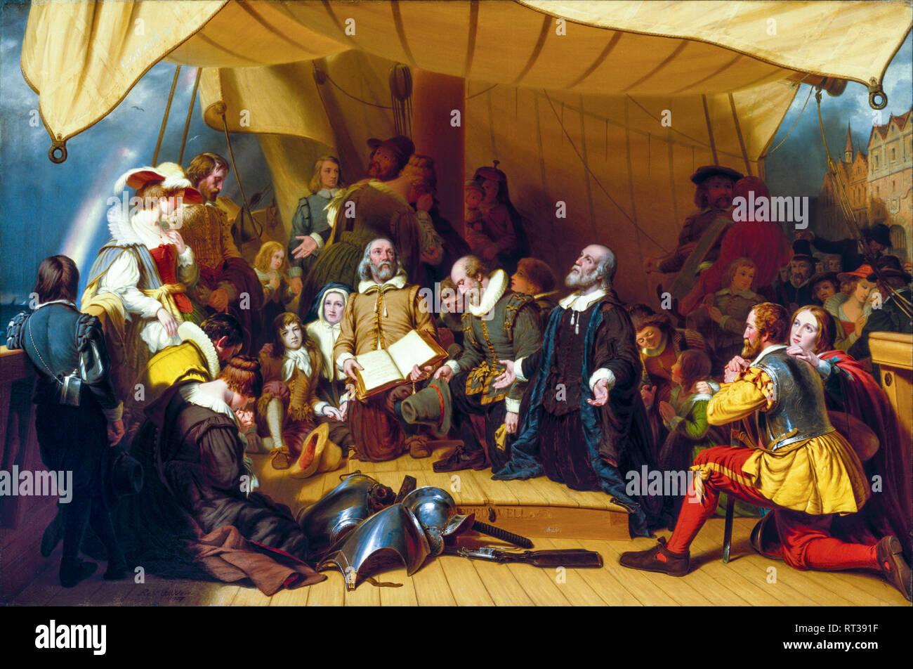 Embarkation of the Pilgrims, Pilgrim Fathers painting, 1857 - Stock Image