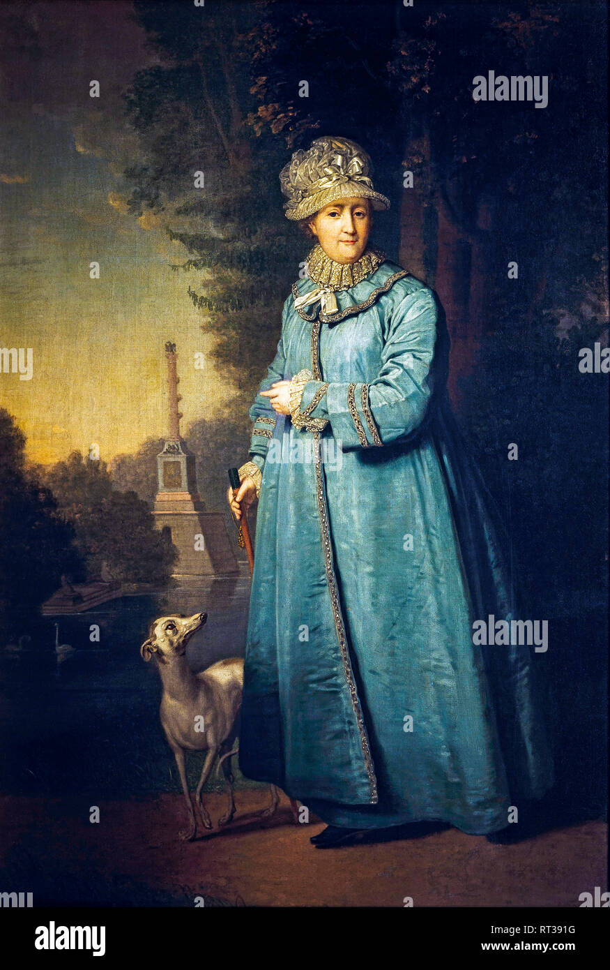 Catherine II, Empress of Russia during a walk in the Tsarskosyelsky Park with the Chesmensky Column in the background, 1794 painting - Stock Image